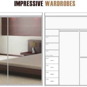 2 Door Mirrored Sliding Built-in Wardrobe DIY